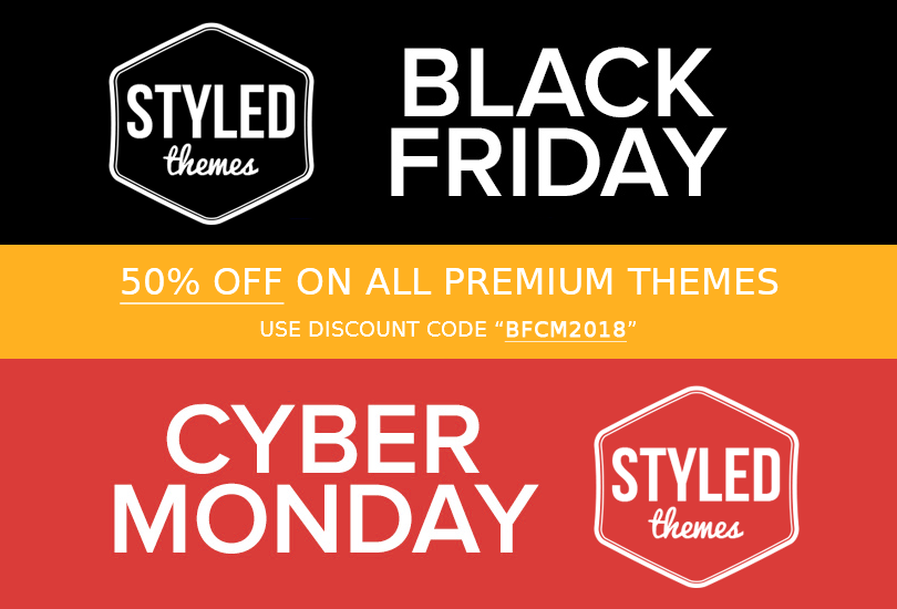 black friday 2018 - Cyber Monday Wordpress theme sale