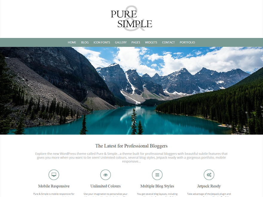 pure simple free wordpress theme styled themes